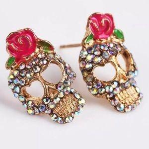 Calavera Sugar Skull Rhinestone Earrings